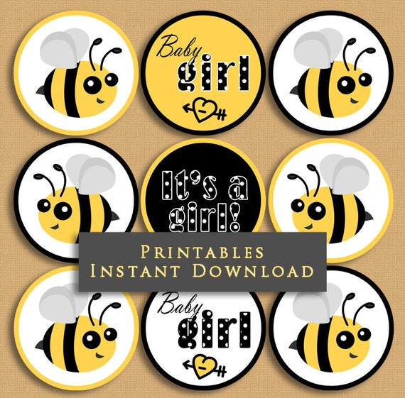 Bumble Bee Baby Shower Cupcake Toppers Girl Party Printables Yellow And Black DIY Printable INSTANT DOWNLOAD From JannaSalakDesigns On Etsy Studio
