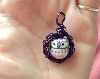 Purple Owls Nest Pendant