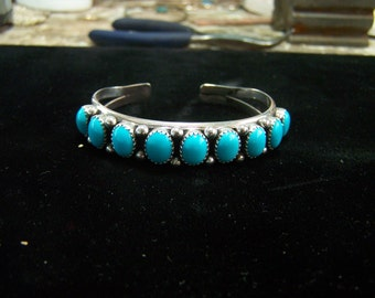 Navajo Bracelet with Sleeping Beauty Turquoise 9mm x 7mm