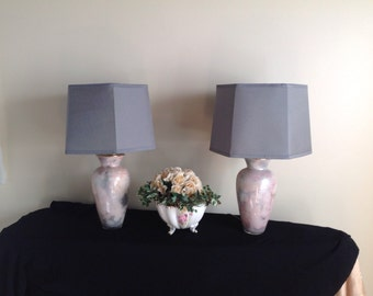 2 Table Boudoir  Crystal Art Glass Table Lamps Made in France By  Laque Line in the Verre Églomisé Manner