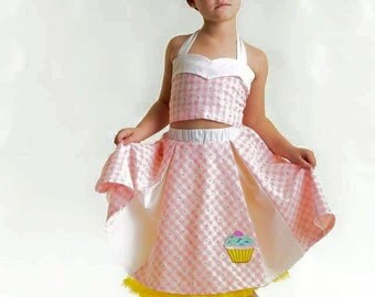 Girl Rockabilly Pink and White Gingham Skirt