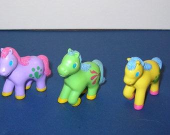 Group of 3 1980s Soma Bootleg My Little Ponies PVC Toys