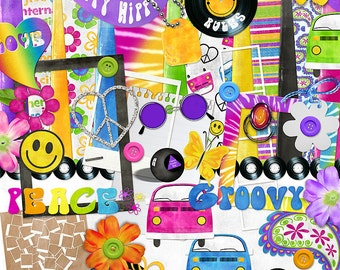 "Hippie Digital Scrapbook Kit - ""The Happy Hippie"" digiscrap kit with a VW bus, peace sign, mood ring in bright neon colors for layouts"