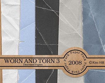 Digital Scrapbook Paper - Worn & Torn Paper Pack 3 - distressed blue paper, gray paper, white paper for digital scrapbook layouts