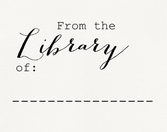 From the Library of stamp - Teacher Stamps - Library Stamps - Custom Library Stamp - Book Stamps - Library book stamp - Wood Library Stamp