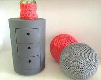"Round - Grey crochet pouf - floor cushion - crochet cushion - floor puff (50""x8"" - 50x20cm)"