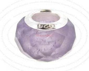 Genuine Amethyst Sterling Silver Charm Bead