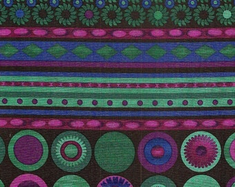 Quilting Treasures Serendipity,  100% cotton, blue, green, purple, and teal stripes with flowers and circles. ~49