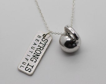 Strong Is Beautiful & Kettlebell Necklace - Crossfit Jewelry Fitness Charm Lift