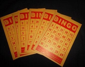 Vintage Bingo Cards, set of 6