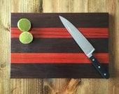 Wood cutting board, wood serving board, walnut and maple cutting board, peruvian walnut and padauk cutting board