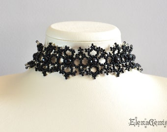 Bead necklace, Beaded necklace, Bead jewelry, Handmade jewelry - The black lace