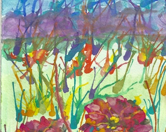 Fantacy Flower Giclee print of original watercolor Painting