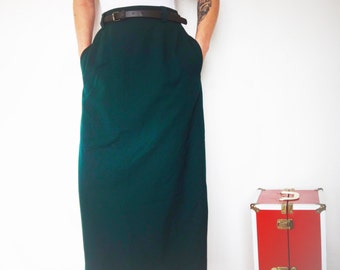Vintage 90's Liz Claiborne 100% Wool High Waist Long Skirt with Pleats and POCKETS in front, slit in back, with Belt, Size 8