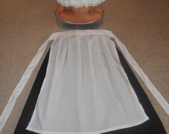 Girls victorian style maids costume, outfit, fancy dress, mop cap, apron, skirt