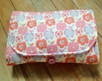 Baby Diaper Changing Pad, Clutch, Pink Flower Print, Grab and Go