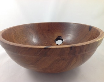 Handmade Mesquite Wood Bowl Natural Hole