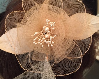 Light pink maid of honor fascinator