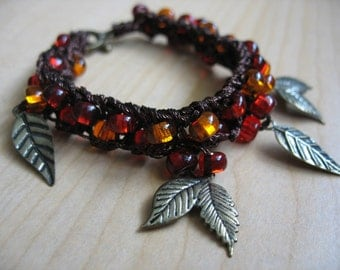 Autumn Forest Knit Beaded Bracelet
