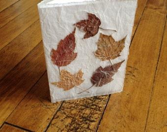 Falling Maple Leaves Original Pressed Flower Card, maple leaf, pressed leaves, handmade paper, original card, real leaves, blank card, fall