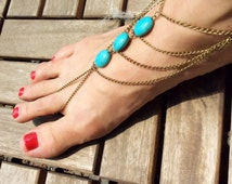 Boho Slave Foot Chain with multiple-strands, Moroccan Inspired Barefoot Slave Chain Sandal, Boho Slave Anklet Jewelry, Boho Foot Jewelry