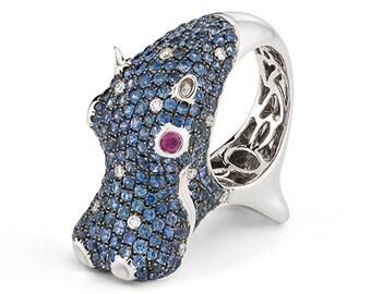 18k White Gold, Sapphire, Ruby & Diamond Hippo Ring, Size 6