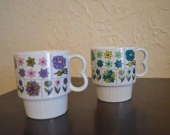 Pair of Vintage Stylecraft stacking mugs #1210