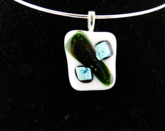 White pendant with green accents