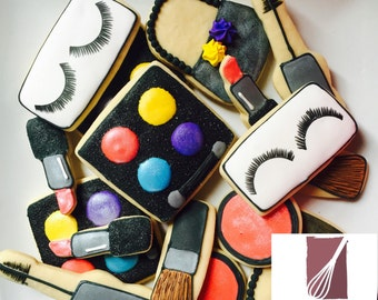 Makeup decorated sugar cookies favors (1 dozen)