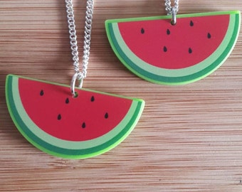 Watermelon Necklace - Silver Plated Chain