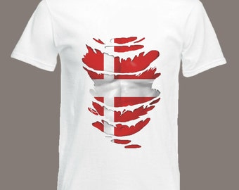 Denmark Flag T-Shirt  see Muscles through Ripped T-Shirt Danish in all sizes