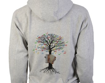 Accordion Hoody Musical Tree Accordionist in sizes up to XXL