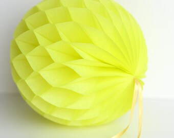 Limon  /  neon yellow Tissue paper honeycombs -  hanging wedding party decorations