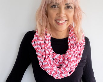 Tickled Pink Striped Cotton Cowl