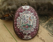 Persian Antique Enamel hand painted with filigree pendant charm on silver