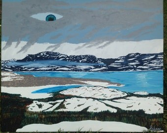 "Lake Laberge with a twist - 16x20"" handmade acrylic painting"