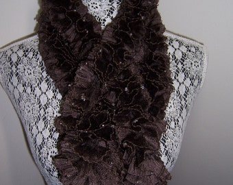 Chocolate Brown Ruffle Boa Scarf with Glass Beads