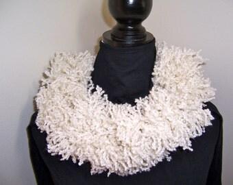 White Boa Scarf, Warm Fringe Yarn, Fun to Wear!