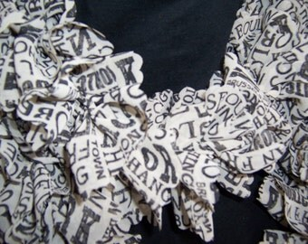 International Cities Ruffle Boa Scarf, Off White and Black