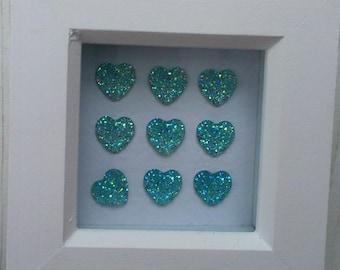 Blue Sparkle Heart Mini Frame