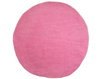 One-Tone Pink Round Felt Rug