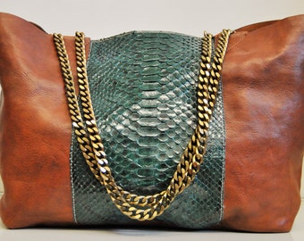 Python and leather shopping bag with internal-large leather bag python clutch bag inside