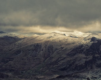 Landscape Fine Art Photo: Snowdonia Wales Mt Snowdon in winter golden glow gold