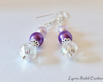 Purple Pearl Earrings Bridesmaid Gift Crystal Earrings Wedding Jewelry Crystal Jewelry Purple Pearl Earrings Jewelry Set Lavender Earrings