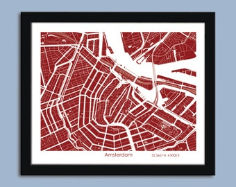 Amsterdam map, Amsterdam city map art, Amsterdam wall art poster, Amsterdam decorative map