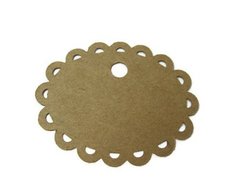 Scalloped Oval Gift Tag set of 25 with Hemp Twine