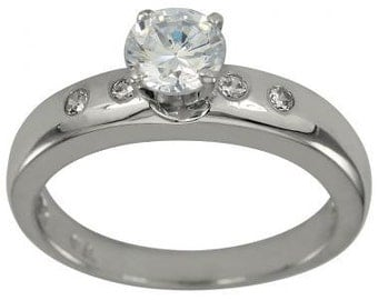 Engagement Ring With 0.50 Carat Diamond in 14k White Gold Bezel Set Diamond Ring