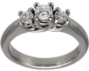 Half Ct Trellis Three Diamond Ring 14K White Gold