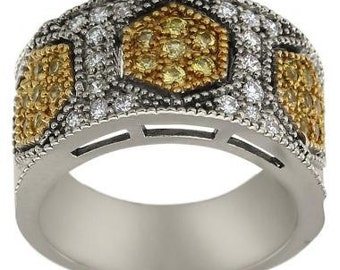 Art Deco Ring Diamonds And Yellow Sapphires In Anniversary Ring 14K White Gold