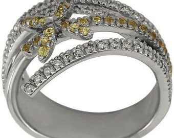 Flower DiamondRing With Yellow Sapphires In 14k White Gold